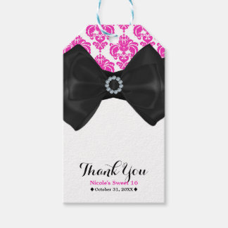 Hot Pink & White Damask Bow Glam Sweet 16 Party Gift Tags