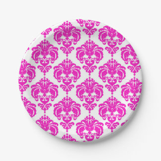 Hot Pink & White Damask Chic Elegant Party Paper Plate