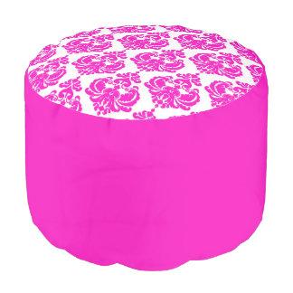Hot Pink & White Damask Chic Elegant Pattern Pouf