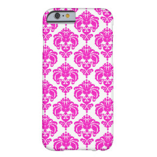 Hot Pink & White Damask Elegant Chic Pattern Barely There iPhone 6 Case