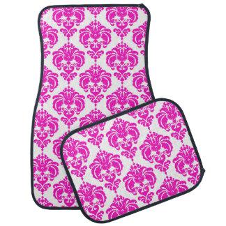 Hot Pink White Damask Modern Trendy Pattern Glam Car Mat