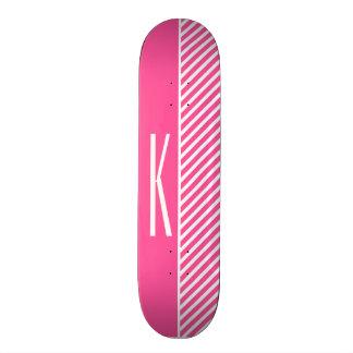 Hot Pink & White Diagonal Stripes Skate Deck