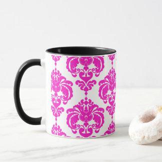 Hot Pink & White Elegant Chic Damask Pattern Mug