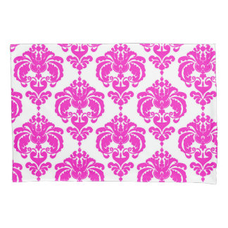 Hot Pink & White Elegant Chic Damask Pattern Pillowcase