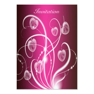 Hot Pink White Flower Streamers Birthday Party Card