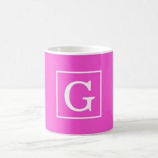 Hot Pink White Framed Initial Monogram Classic White Coffee Mug