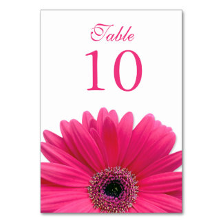 Hot Pink White Gerbera Daisy Wedding Table Card