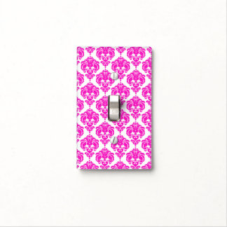 Hot Pink & White Glam Pattern Modern Chic Light Switch Cover