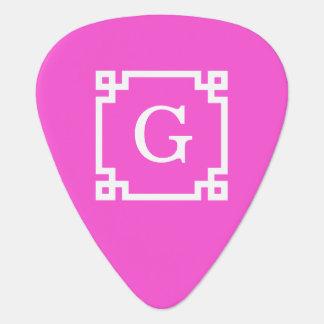 Hot Pink White Greek Key Frame 2 Initial Monogram Guitar Pick