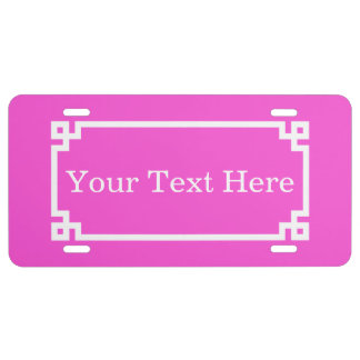 Hot Pink White Greek Key Frame 2 Initial Monogram License Plate