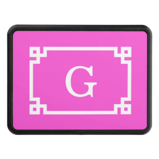 Hot Pink White Greek Key Frame 2 Initial Monogram Trailer Hitch Covers