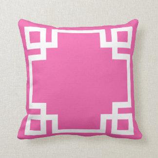 Hot Pink White Greek Key Throw Pillow