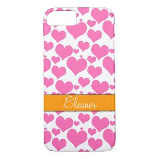 Hot Pink & White Hearts Orange Band, Personalized iPhone 8/7 Case