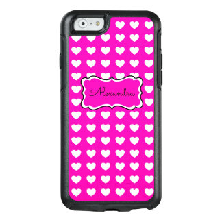 Hot Pink White Hearts Personalized OtterBox iPhone 6/6s Case