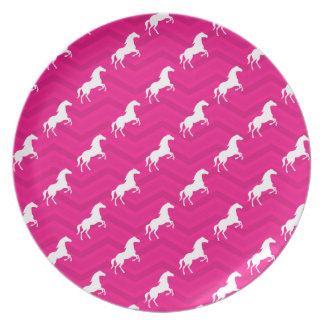 Hot Pink, White Horse, Equestrian, Chevron Party Plate