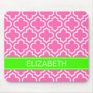 Hot Pink White Moroccan #6 Lime Name Monogram Mouse Pad