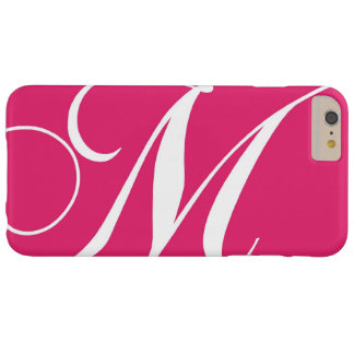 Hot Pink, White Script Monogram M Barely There iPhone 6 Plus Case