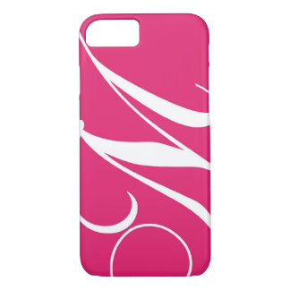 Hot Pink, White Script Monogram M iPhone 7 Case