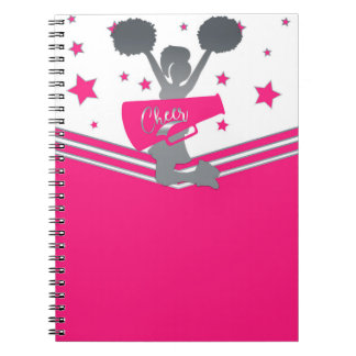 Hot Pink & White Stars Cheer Cheer-leading Notebook