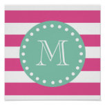 Hot Pink White Stripes Pattern, Mint Green Monogra