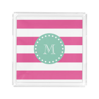 Hot Pink White Stripes Pattern, Mint Green Monogra Acrylic Tray