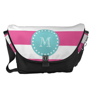 Hot Pink White Stripes Pattern, Teal Monogram Messenger Bags