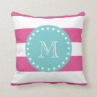 Hot Pink White Stripes Pattern, Teal Monogram Throw Pillow