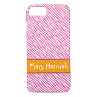 Hot Pink & White Waves Orange Band, Personalized Case-Mate iPhone Case