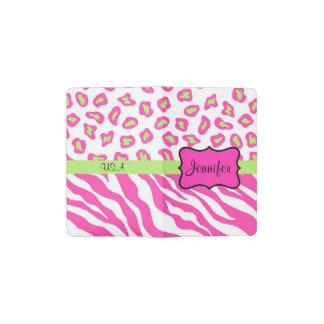 Hot Pink White Zebra Leopard Skin Cusom Name Pocket Moleskine Notebook Cover With Notebook