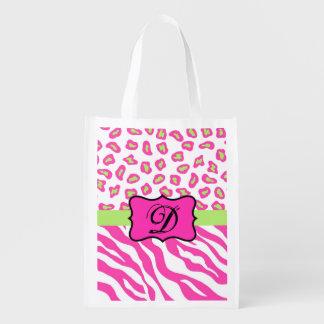 Hot Pink White zebra Leopard Skin Monogram Initial Grocery Bag