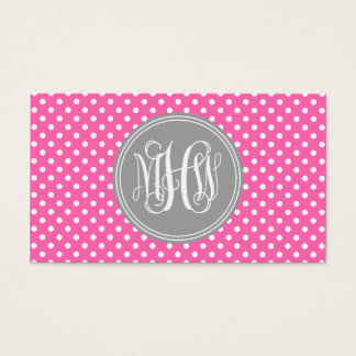 Hot Pink Wht Dot Dk Gray 3I Vine Script Monogram Business Card
