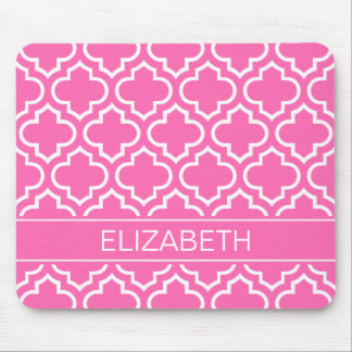 Hot PInk Wht Moroccan #6 Hot Pink Name Monogram Mouse Pad