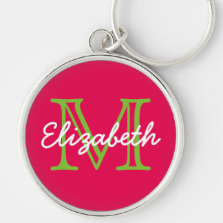 Hot Pink With Green and White Monogram Silver-Colored Round Keychain