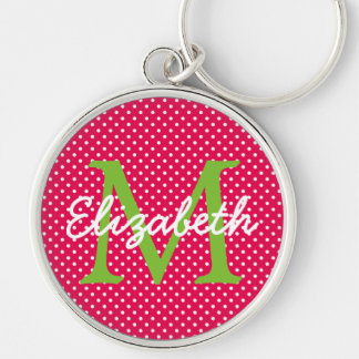 Hot Pink With Green and White Polka Dot Monogram Silver-Colored Round Keychain