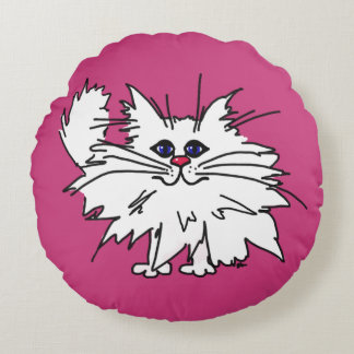 """Hot Pink Witty Kitty Round 16"""" Pillow"""