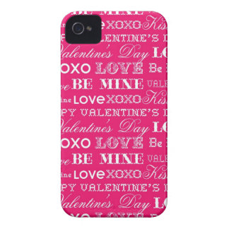 Hot Pink XOXO Love Be Mine Happy Valentine's Day iPhone 4 Cover