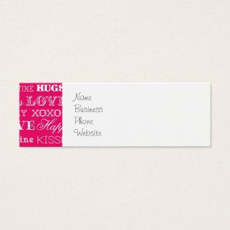 Hot Pink XOXO Love Be Mine Happy Valentine's Day Mini Business Card