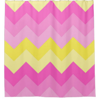 Hot Pink Yellow Chevron Ombre Pattern Print