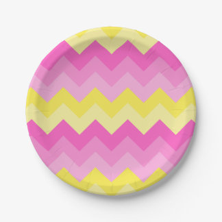 Hot Pink Yellow Chevron Ombre Pattern Print 7 Inch Paper Plate