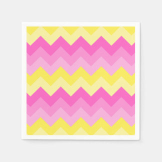 Hot Pink Yellow Chevron Ombre Pattern Print Disposable Napkins