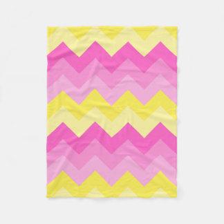Hot Pink Yellow Chevron Ombre Pattern Print Fleece Blanket