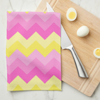 Hot Pink Yellow Chevron Ombre Pattern Print Kitchen Towel