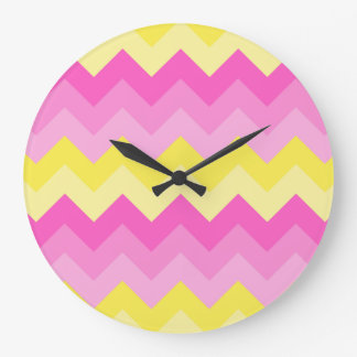 Hot Pink Yellow Chevron Ombre Pattern Print Large Clock