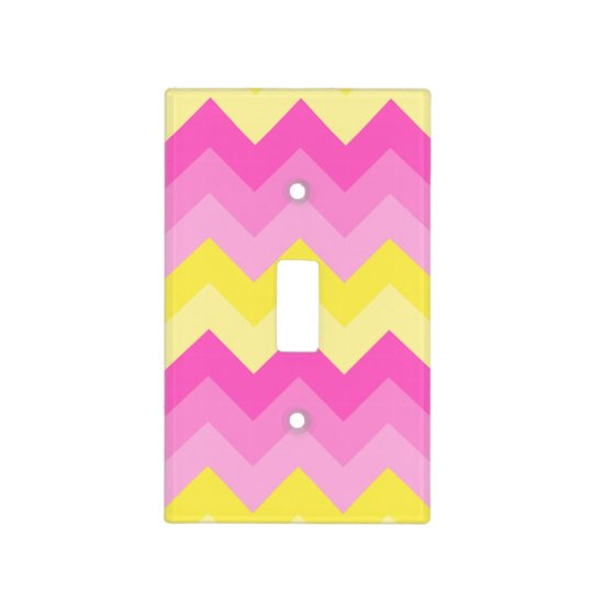 Hot Pink Yellow Chevron Ombre Pattern Print Light Switch Cover