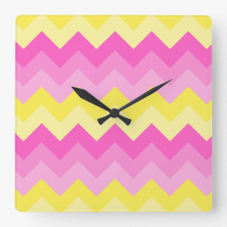 Hot Pink Yellow Chevron Ombre Pattern Print Square Wall Clock
