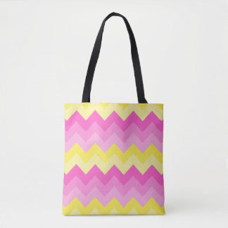 Hot Pink Yellow Chevron Ombre Pattern Print Tote Bag