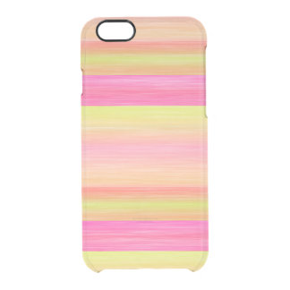 Hot Pink Yellow Coral Orange Watercolor Stripes Clear iPhone 6/6S Case