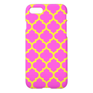 Hot Pink Yellow Moroccan Quatrefoil Pattern #5 iPhone 7 Case