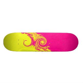 Hot pink & yellow skateboard