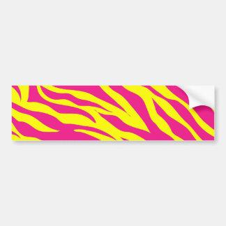 Hot Pink Yellow Wild Animal Print Zebra Stripes Bumper Sticker